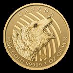 カナダ野生動物金貨表面