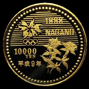 長野オリンピック記念10000円金貨幣(第一次)裏面