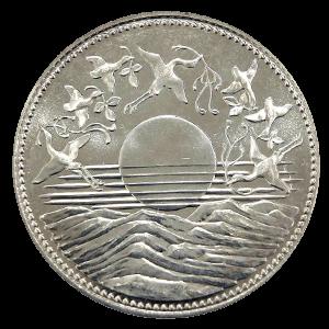 天皇陛下御在位60年記念1万円銀貨幣表面