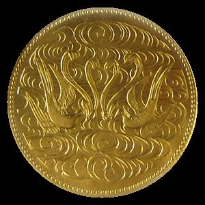 天皇陛下御在位60年記念10万円金貨幣表面