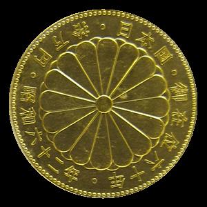 天皇陛下御在位60年記念10万円金貨幣裏面